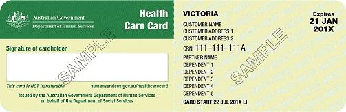 Health Care Card Sample